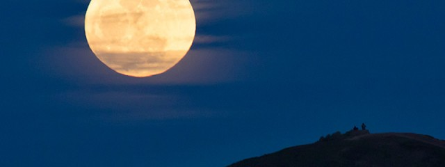 Moon People - Full Moon rising over Twin Peaks, San Francisco