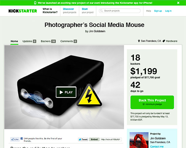 Kickstarter Project: Photographer's Social Media Mouse