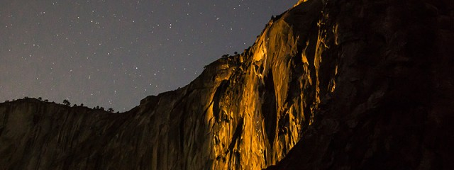 Horsetail Falls Moonset Light, Yosemite National Park