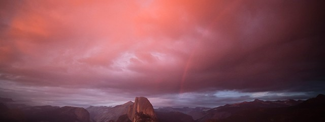 Sunset Transformation and Rainbow - Yosemite National Park, California