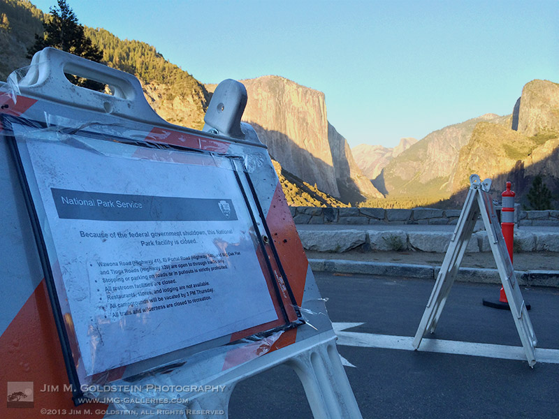 Tunnel View Signs - 2013 Federal Shutdown - Yosemite National Park