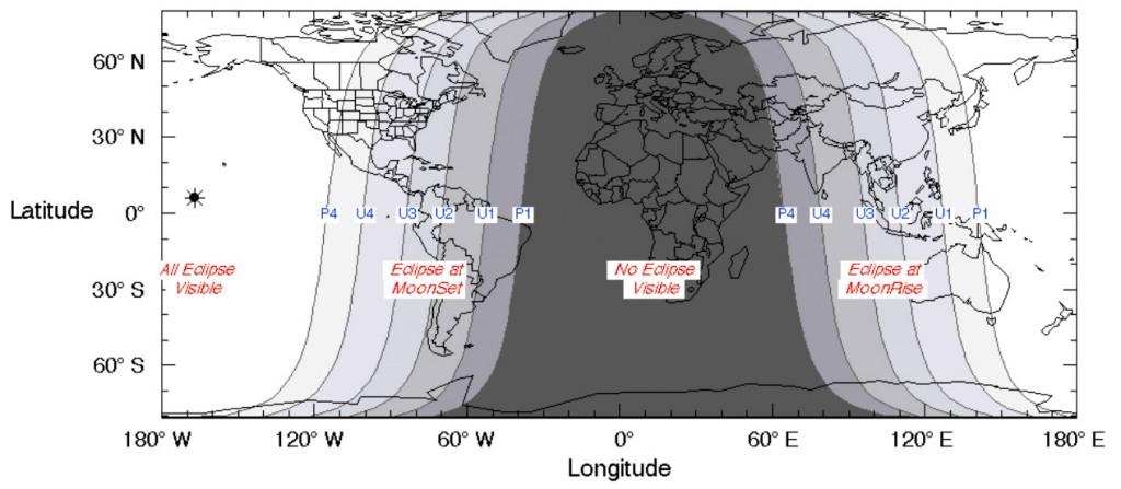 October 8th 2014 Lunar Eclipse Map