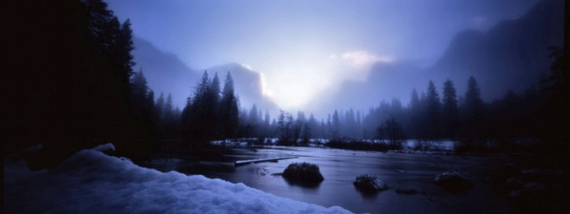 Snowy Sunrise at Gates of the Valley, Yosemite National Park
