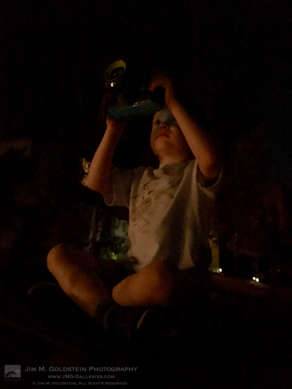Future Photographer Taking in His 1st Lunar Eclipse