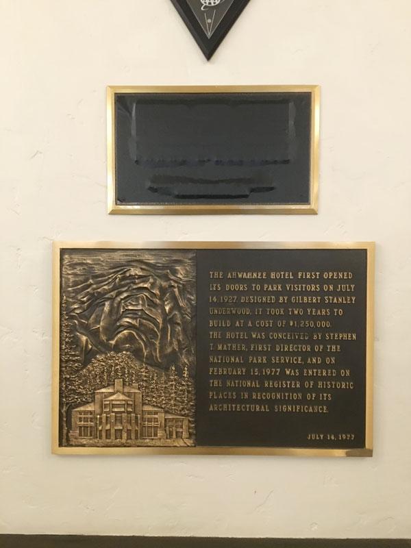 Historical Landmark  Placard Inside the Majestic Yosemite Hotel - Formerly the Ahwahnee Hotel