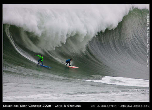 Greg Long and Jamie Sterling drop in on a huge wave at Mavericks Surf Contest 2008 photo by Jim M. Goldstein
