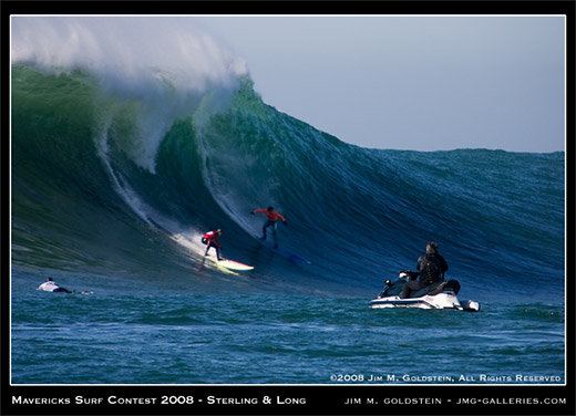 Jamie Sterling and Greg Long battle it out in the finals of the Mavericks Surf Contest 2008 photo by Jim M. Goldstein