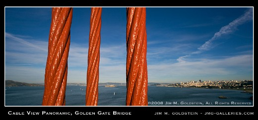 Cable View Panoramic, Golden Gate Bridge photo by Jim M. Goldstein