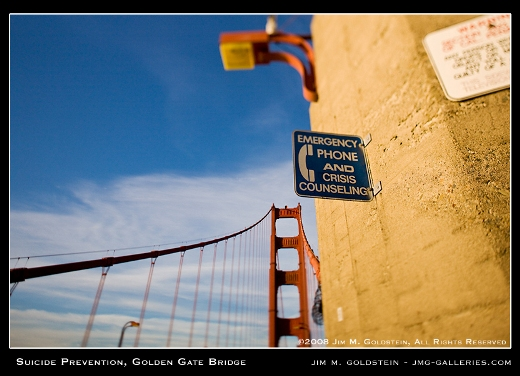 Suicide Prevention, Golden Gate Bridge photo by Jim M. Goldstein