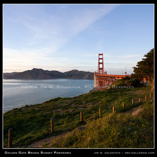 Golden Gate Bridge Panoramic Sunset photo by Jim M. Goldstein