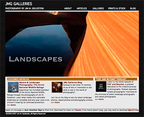 Old JMG-Galleries Web Site & Design