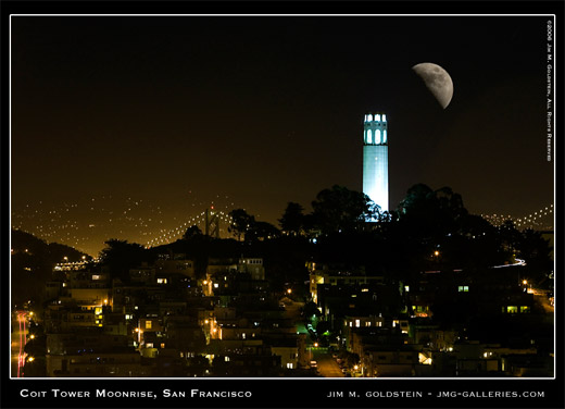 Coit Tower Moonrise in San Francisco, cityscape photo by Jim M. Goldstein