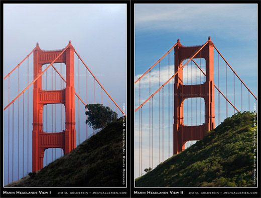 Golden Gate Bridge as seen from the Marin Headlands and missing tree photo by Jim M. Goldstein