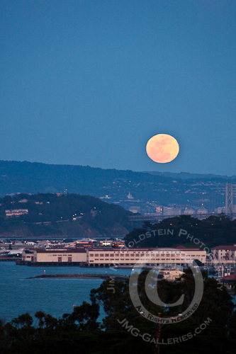 Moonrise over San Francisco's Fort Mason