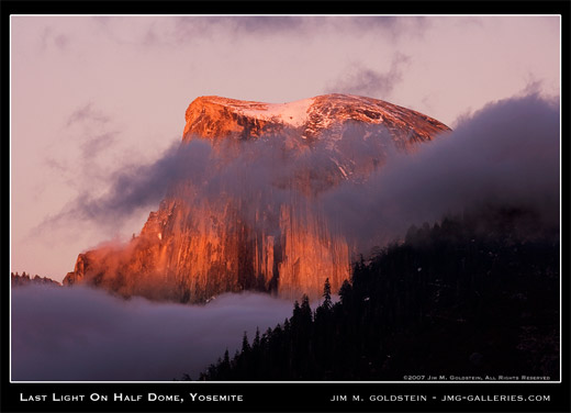 Last Light on Half Dome, Yosemite landscape photograph by Jim M. Goldstein