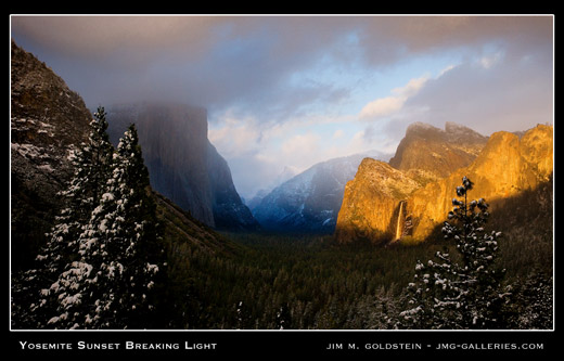 Yosemite Sunset Breaking Light landscape photo by Jim M. Goldstein, stock, photos, yosemite
