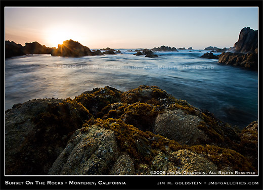 Sunset on the Rocks - Monterey, California photo by Jim M. Goldstein