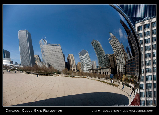 Chicago, Cloud Gate Reflection photo by Jim M. Goldstein