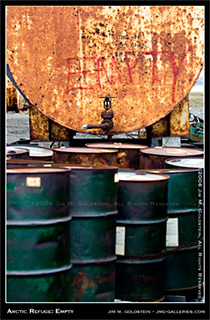 Arctic National Wildlife Refuge: Empty Oil Barrels photo by Jim M. Goldstein