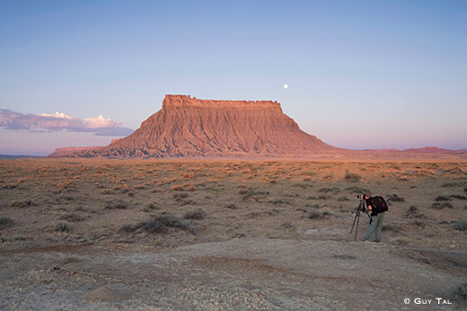 Jim Goldstein Photographing Sunrise at Factory Butte - Caineville Utah