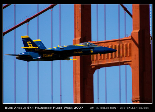 Blue Angels, San Francisco Fleet Week 2007, Golden Gate Bridge, photo by Jim M. Goldstein