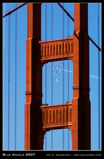 Blue Angels, San Francisco Fleet Week 2007, Golden Gate Bridge, photo by Jim M. Goldstein