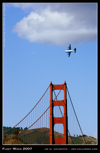 Blue Angels, San Francisco Fleet Week 2007, Golden Gate Bridge, Fat Albert, photo by Jim M. Goldstein