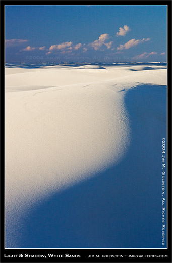 Light and Shadow, White Sands National Monument landscape photo by Jim M. Goldstein