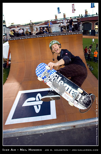 Neil Hendrix all smiles at Icer Air on the Vert Ramp sports photo by Jim M. Goldstein