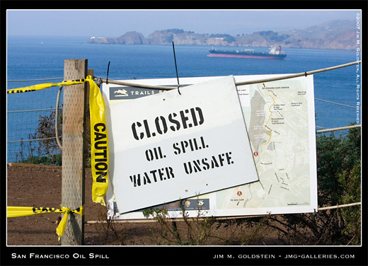 San Francisco Oil Spill photo by Jim M. Goldstein, Baker Beach