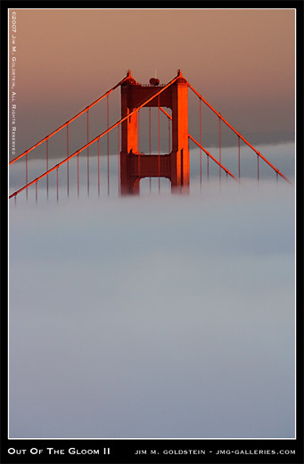 Out of the Gloom II: Golden Gate Bridge and Fog, San Francisco, stock, photo