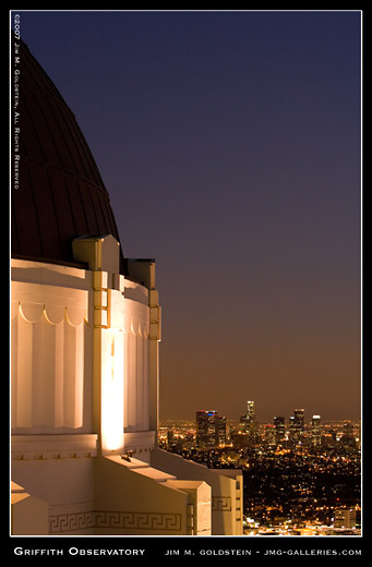 Griffith Park Observatory and Downtown Los Angeles at Sunset photo by Jim M. Goldstein