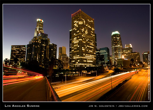 Los Angeles Sunrise cityscape photo by Jim M. Goldstein, stock photo