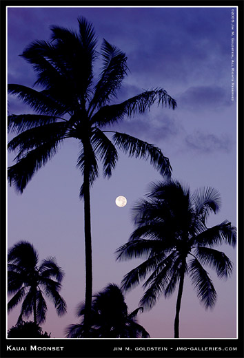 Kauai Moonset landscape photograph by Jim M. Goldstein