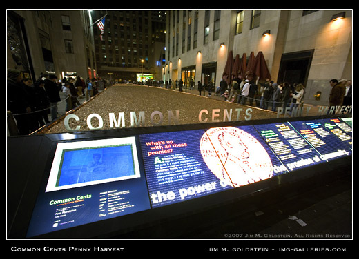 Common Cents Penny Harvest Field in Rockefeller Center, New York photo by Jim M. Goldstein