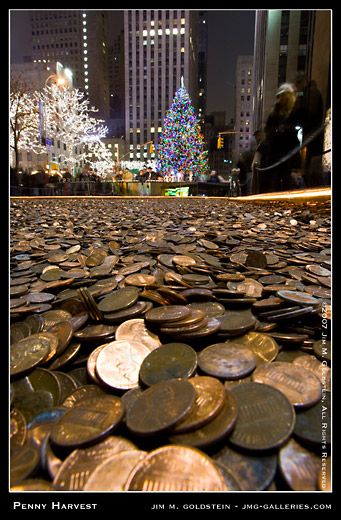 Common Cents Penny Harvest Field and Rockefeller Christmas Tree in New York City photo by Jim M. Goldstein