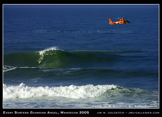 Every Surfers Guardian Angel, Mavericks 2005 photo by Jim M. Goldstein