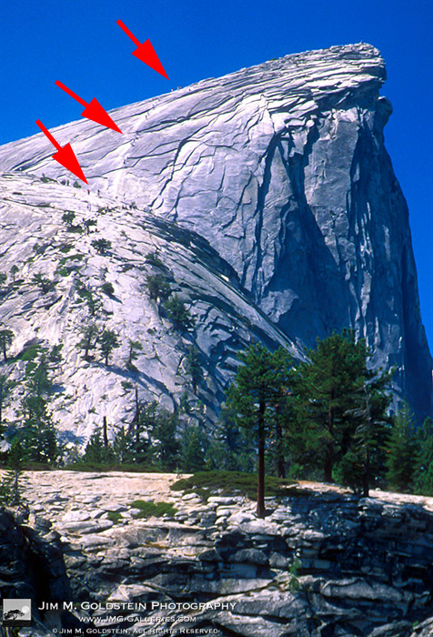 Hikers Climbing the Cables on Eastern Shoulder of Half Dome - Yosemite, California