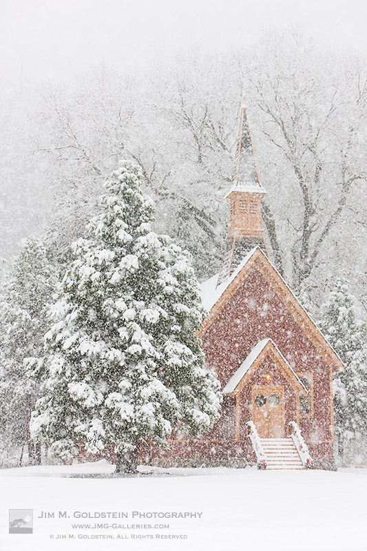 Yosemite Valley Chapel in Snow Storm