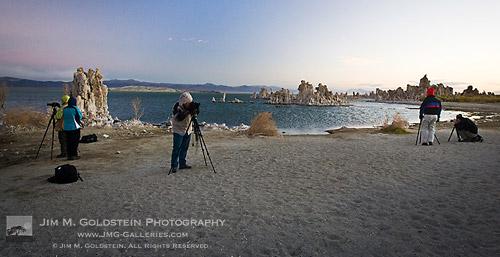 Photographers at Mono Lake Photographing Sunset