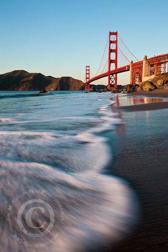Golden Gate Bridge & Surf at Sunset