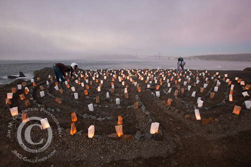 Volunteers Lighting Luminaries at the Lands End Labyrinth, San Francisco