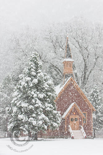 Yosemite Valley Chapel in Snow Storm photo by Jim M. Goldstein