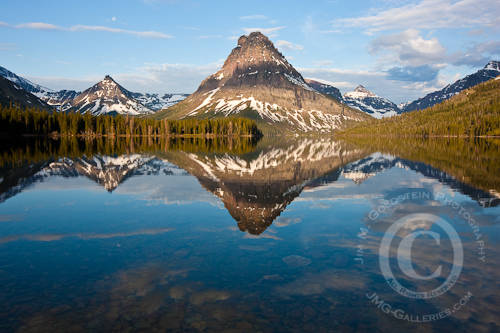 Sinopah Mountain Reflected in Two Medicine Lake at Sunrise - Glacier National Park