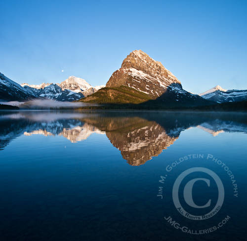 Mount Grinell Reflected in Swiftcurrent Lake at Sunrise - Glacier National Park, Montana