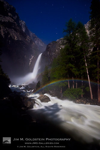 Lunar Rainbow (Moonbow) at Lower Yosemite Falls, Yosemite National Park