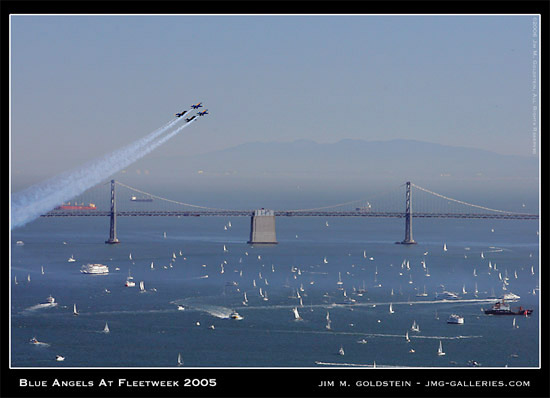 Blue Angels fly over the bay during Fleetweek 2005 in San Francisco