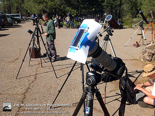 cameras and tripods setup to see the May 2012 annular eclipse from northern California