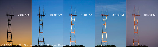 Lighting At Different Times Of The Day photo of Sutro Tower by Jim M. Goldstein