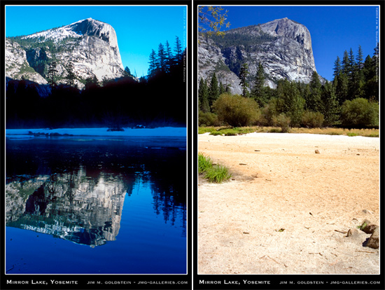 Mirror Lake vs. Mirror Lake (Winter vs. Summer), Yosemite National Park